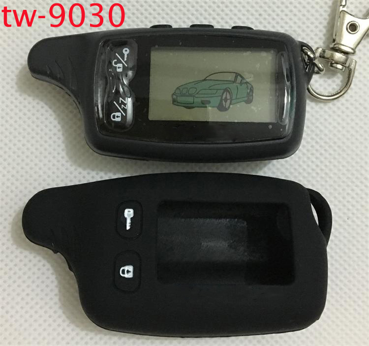 TW9030 LCD Remote Control Key Fob + Tamarack Silicone Case for Russian Version TW 9030 two way car alarm system Tomahawk TW-9030