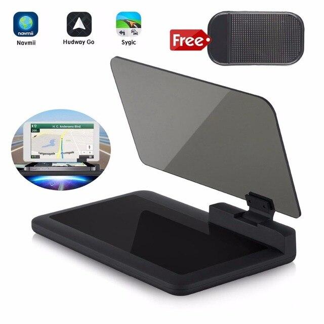 Cabeça up display gps navegação carro traço montar titular do telefone celular filme reflexivo, veículo hud smartphone suporte de montagem para iphone