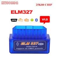 MINI ELM327 Bluetooth with 25K80 Chip ELM327 V1.5 For Android Torque/PC Inclued All OBDII Protocols ELM 327 V2.1 ELM327 OBD2