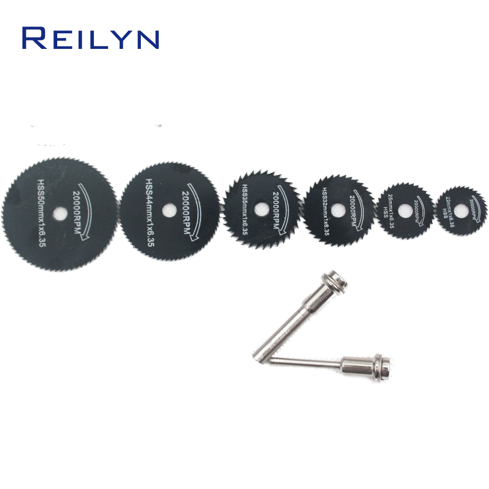 Reilyn Free Shipping HSS Saw Blade 6 Pc/7 Pc Mini Blade 22mm-50mm For Dremel/Electric Grinder Saw Bit Cutting Wood/Plastic