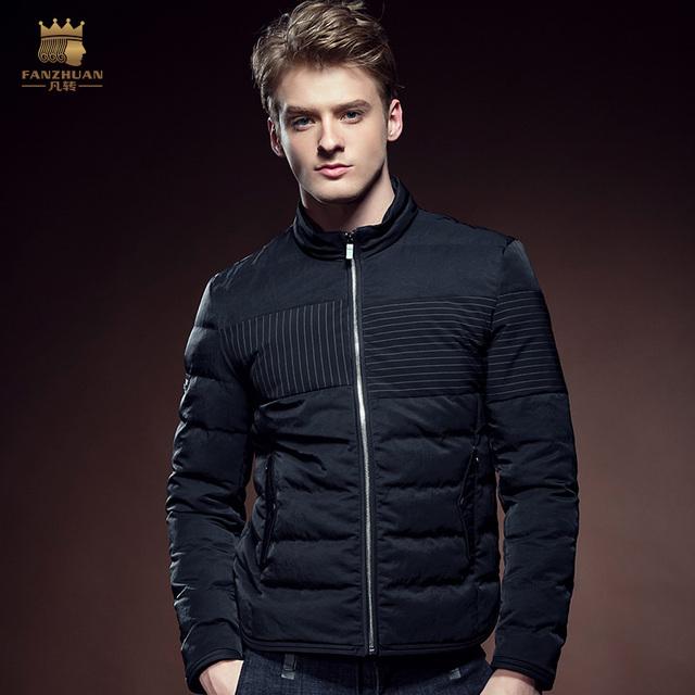 Envío Gratis Nueva moda hombre de manga larga ocasional masculina de Los Hombres de invierno de algodón con cremallera cuello capa de la chaqueta acolchada 610116 fanzhuan