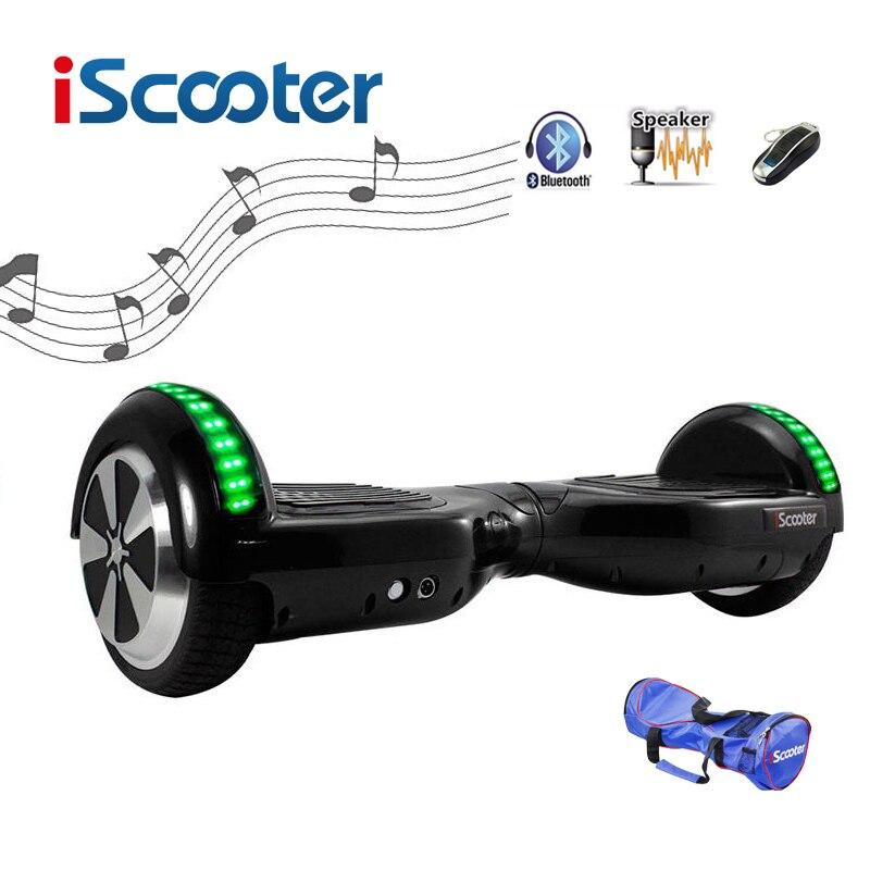 Livraison gratuite iScooter Hoverboard bluetooth 6.5 pouces 2 Roues Smart Balance Scooter Électrique auto Équilibrage Planche À Roulettes giroskuter