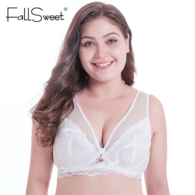 24b9d687a61b95 FallSweet Lace Minimizer Bras for Women Plus Size Full Coverage Bralette  for Women Underwire D E Cup