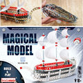 Comandante ferro modelo mágico DIY Metálicas Montadas Brinquedos Vela, construir e jogar Metal Veleiro Montagem 3D crianças Brinquedos Inteligentes