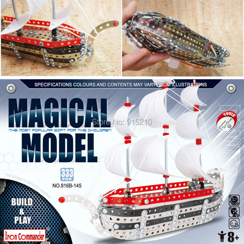 ФОТО Iron Commander magical model DIY Metal Assembled Sailing Toys,3D Assembly build and play Metal Sailboat kids Intelligent Toys