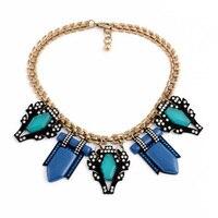 Joyería hecha a mano de las mujeres resina de vidrio de aleación de zinc opaco azul joya vintage oro color collar de cadena extendida