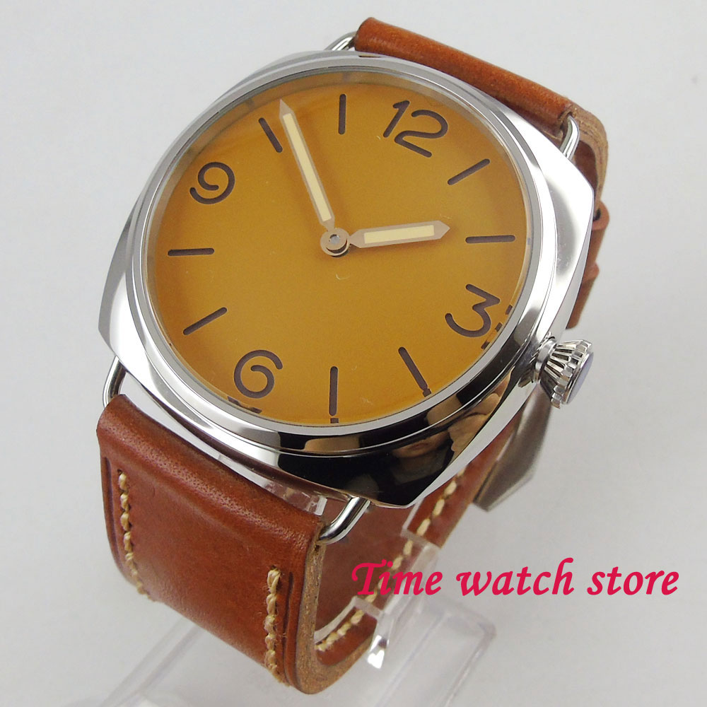 Polished 47mm PARNIS mens watch vintage yellow sandwich dial 17 jewels swan neck 6497 hand winding movement wrist watch 2026Polished 47mm PARNIS mens watch vintage yellow sandwich dial 17 jewels swan neck 6497 hand winding movement wrist watch 2026