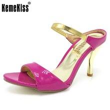 Kemekiss женские босоножки на высоком каблуке модные сандалии-гладиаторы Дамские пляжные шлепанцы летние туфли на для женская обувь Размеры 32–43 PA00835