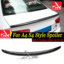 For Audi A4 A4a A4Q Spoiler B8.5 S4 Style Carbon Fiber rear spoiler Rear trunk Lid Boot Lip wing car styling Decoration 2013-16 стоимость