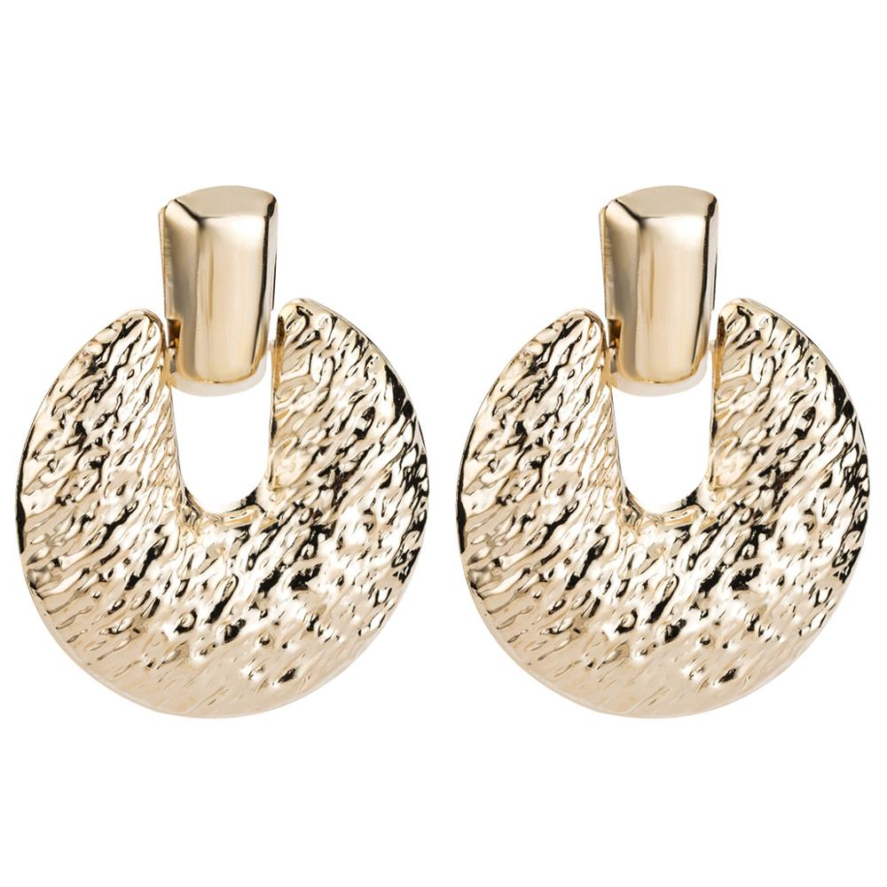 Luxury ZA Brand Vintage Earrings For Women Square Female 2019 Korean Round Gold Silver Oorbellen Big Drop Brinco Dangle Jewelry in Drop Earrings from Jewelry Accessories