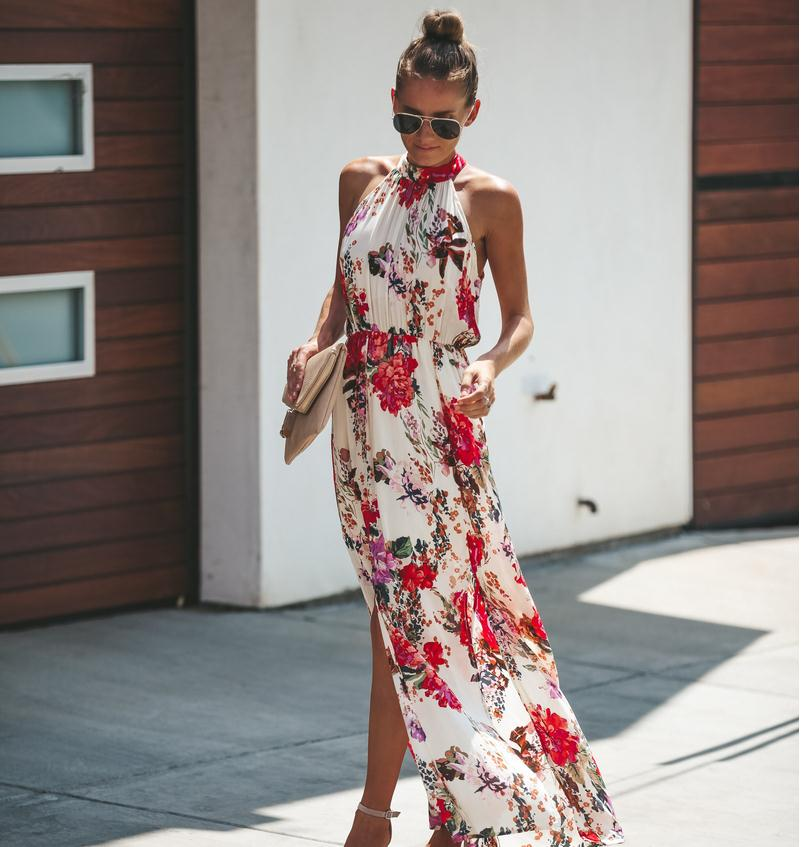 Fashion Women Lady Chiffon Flower Floral Leaf Print Boho Maxi Split Dress Beach Ladies Dresses