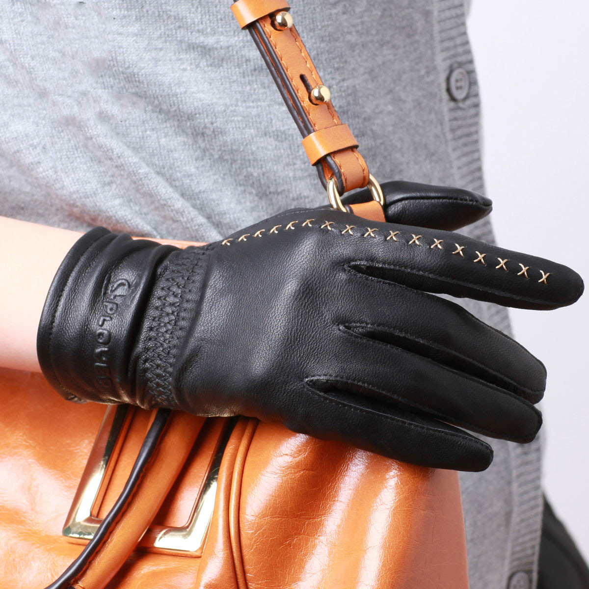 Ladies leather cycling gloves - Fashion Women Winter Warm Glove Genuine Leather Gloves Elegant Ladies Outdoor Cycling Gloves China