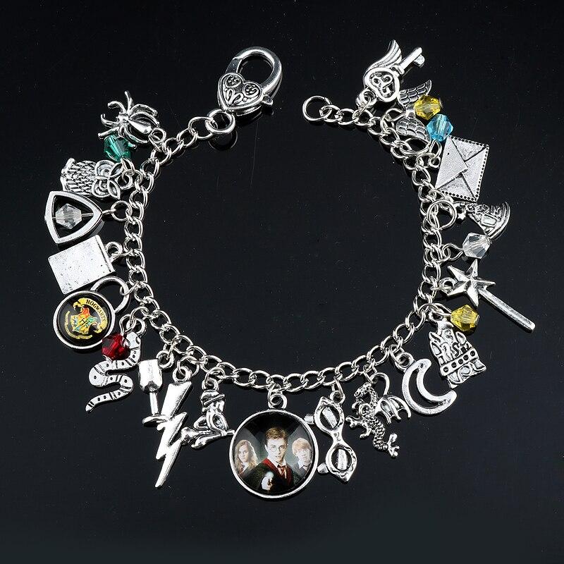 Wholesale Fashion Movie Jewelry Bracelets Snitch Hufflepuff Hogwarts Horcrux Bracelet Women DIY Handmade Wristlet Anklets Bangle