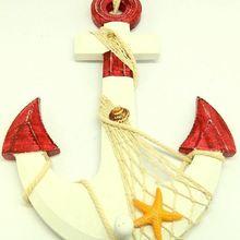 Морской стиль деревянная Веревка Якорь Формы Красный вешалка держатель