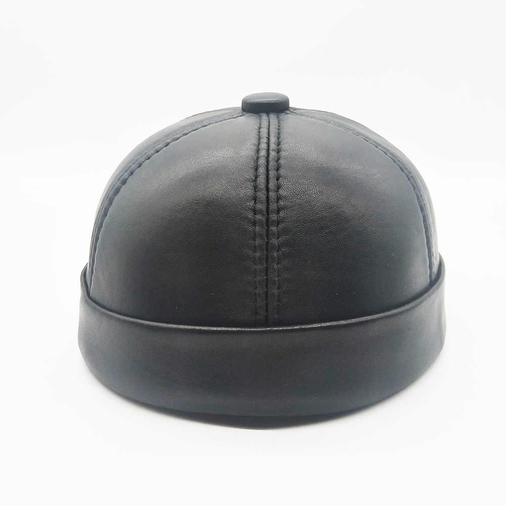リアルレザーレトロ帽子カジュアル家主帽子シープスキンキャップ薄型ラウンド男性はファッション冬と秋の高級帽子 CS148