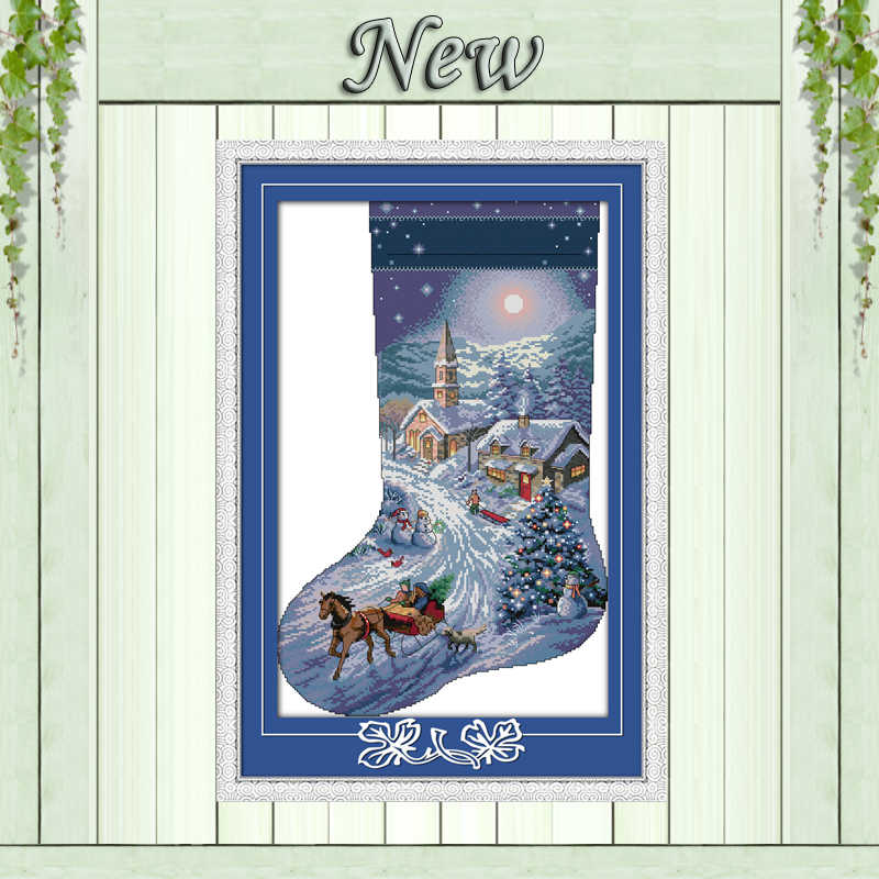 Kerst kous Kerstman Snowman schilderij geteld print op canvas DMC 14CT 11CT Kruissteek Borduur kits Handwerken Set