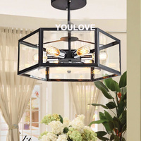 European Vintage Iron Ceiling Lights Indoor Foyer Lobby Glass Study Ceiling Lamp Bed Dining Room Restaurant