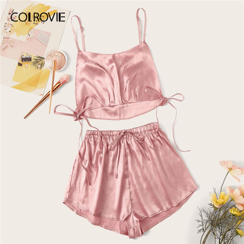 COLROVIE Pink Knot Detail Satin Cami Top With Shorts Sexy   Pajama     Set   Women 2019 Summer Ladies Solid Sleepwear Female Nightgowns