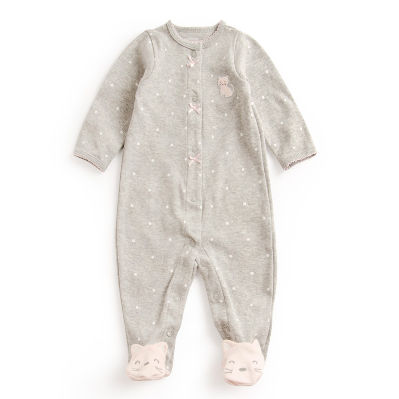 3 12 Months One piece Baby Girl Dot and lace Rompers Newborn Baby Cartoon Foot Outfit