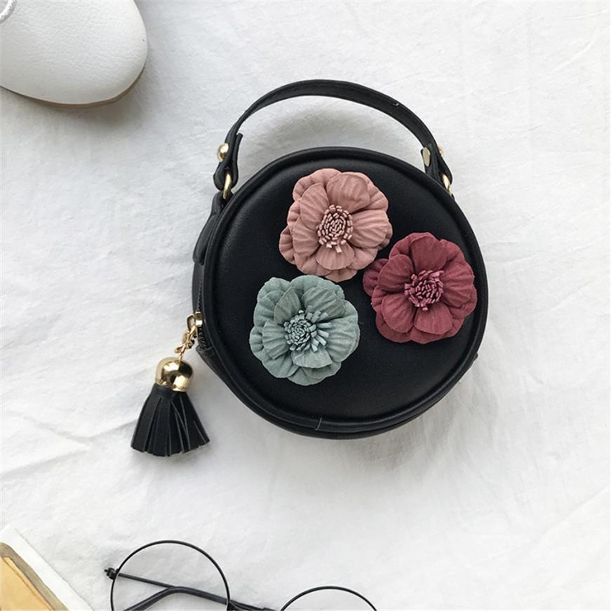 Zielsetzung Mini Tasche Nette Kinder Quaste Kreis-form Floralen Handtasche Frauen Umhängetasche Mini Messenger Bags Leder Bolsas Feminina Crossbody-taschen