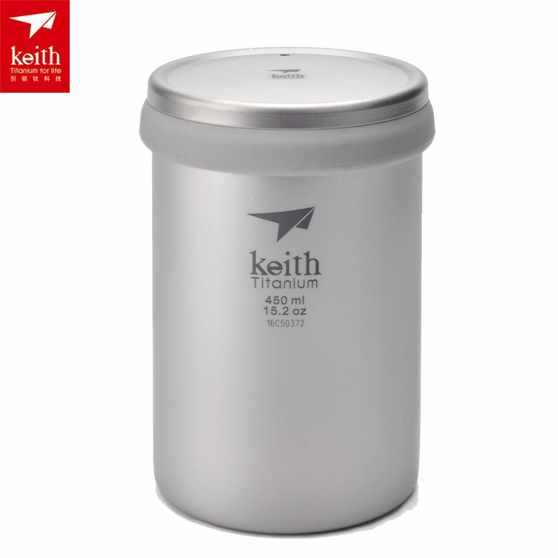 Keith 15.2 oz Double Wall Titanium Coffee Mug Camping Tea Cup With Lid Travel Mug Ti3521 keith ks813 double wall titanium water cup mug silver grey 220ml