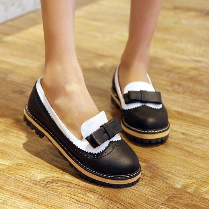 New Girls Flat Oxfords Vintage Sweet Boat Shoes pump Bowktie Brogue Plus Size