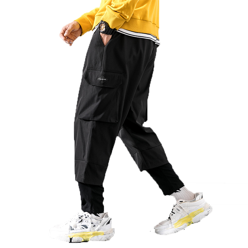 Casual Trousers Pant Punk Joggers Harem Elastic Street Black Male Multi-Pocket Hip-Hop