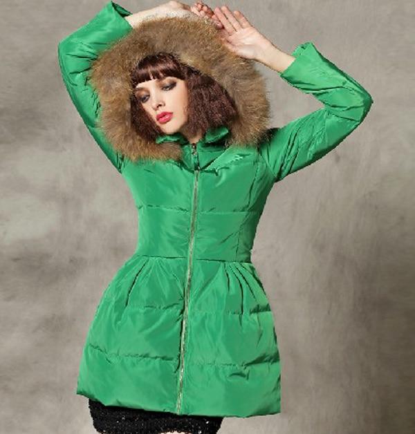 Фото New arrival 2014 women winter zipper skirt down jackets big fur collar puff sleeve coats Detachable cap slim parkas E362