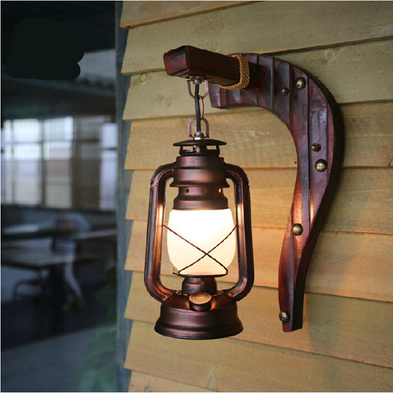 Bamboo Iron Lantern Led E27 Wall Lamp