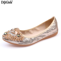 Big Size 35 43 Gold Silver Genuine Leather Shoes Women Flats Elegant Ladies Flat Shoes Fashion