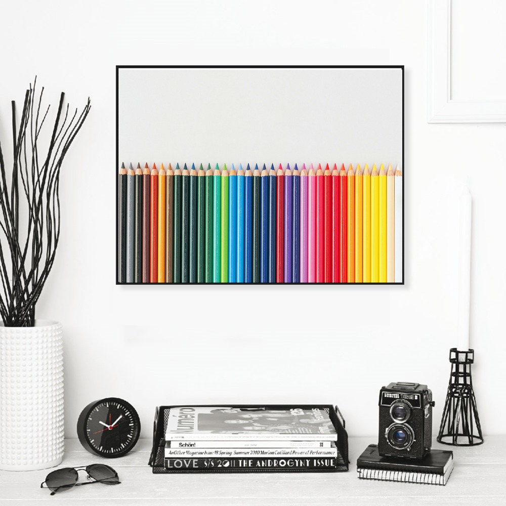 Colorful Pencils Vintage Posters and Prints Home Decoration Canvas Art Painting Modern Wall Pictures No Frame in Painting Calligraphy from Home Garden