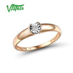 VISTOSO puro 14K 585 anillo de diamante de dos tonos de oro espumoso ilusión-Set Miracle Plate para mujer aniversario delicado de moda joyería