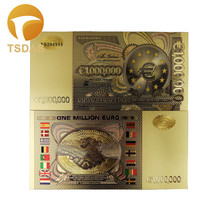 Colorful One Million EURO Gold Banknote Luxury 999 24k Plated Banknotes 10pcs/lot for Collection Currency Crafts