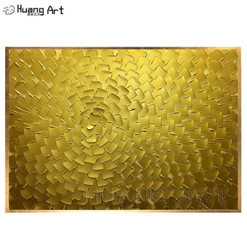 Handmade Modern Abstract Red Palette Knife Oil Painting on Canvas for Living Room Decorative Hand Painted Gold Wall Pictures