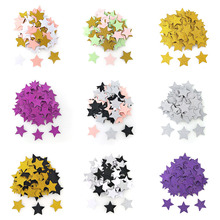 100pcs 다채로운 반짝이 별 모양 테이블 색종이 생일 웨딩 장식 골 판지 색종이 어린이 베이비 샤워 파티 용품
