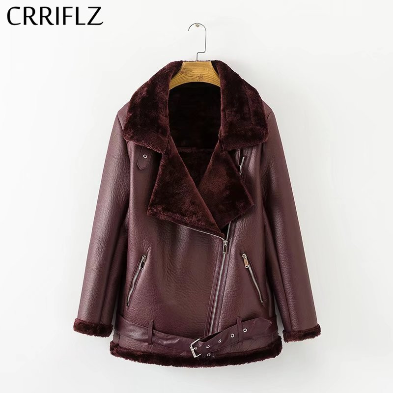 2019 New Winter Faux Lamb   Leather   Jacket Women Faux   Leather   Lambs Wool Fur Collar   Suede   Jacket Coats Female Warm Thick Outerwear