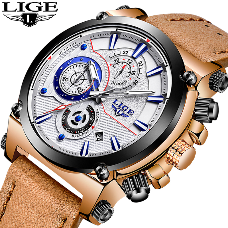 LIGE New Mens Watches Top Brand Luxury Quartz Watch Men Casual Leather Military Waterproof Sport Watch Relogio Masculino+Box