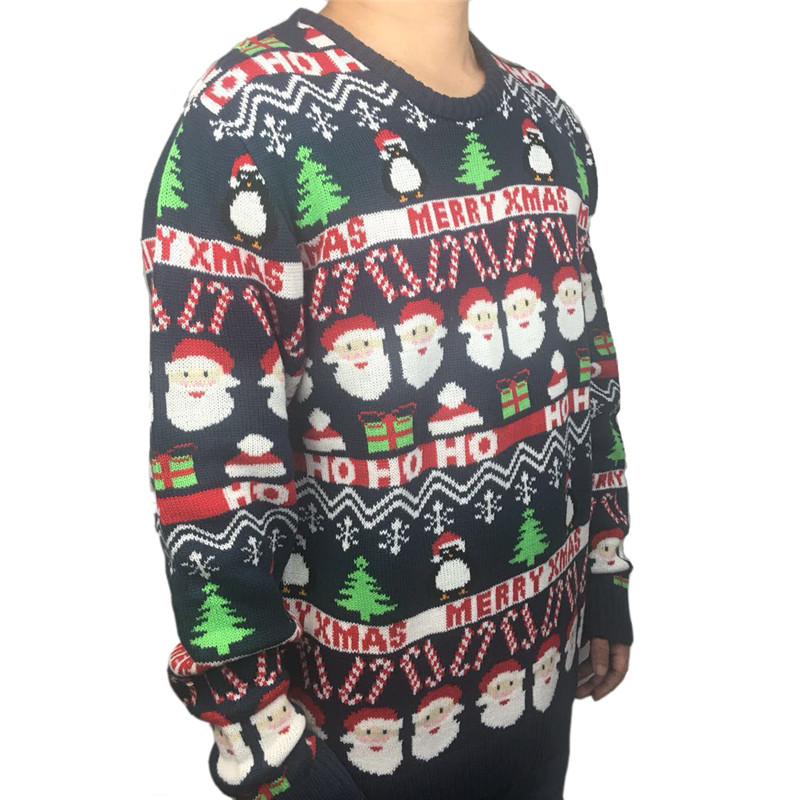 Funny Knitted Ugly Christmas Sweaters for Men and Women Cute Santa Claus Penguin Pattern Ugly Xmas Pullover Jumper Oversized 2