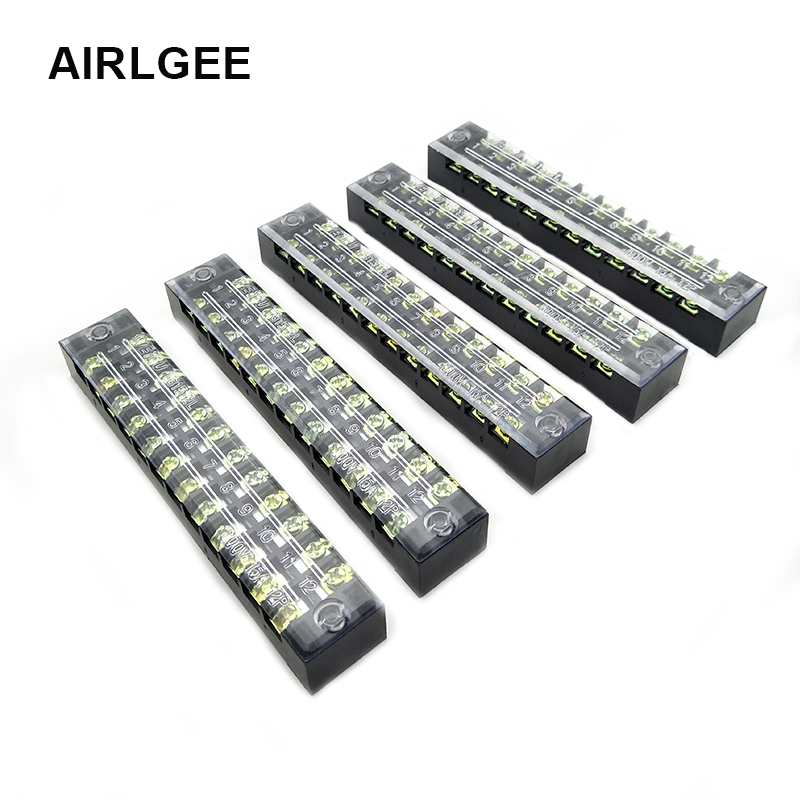 5 Pcs Dual Row 12 Position Barrier Screw Terminal Block Strip 600V 15A TB1512 For 0.5-1.5mm2 Cable Wires