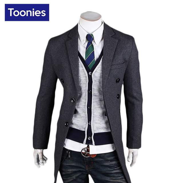 Toonies nuevo medio sólido hombres gabardina larga slim fit otoño invierno 2016 todo-fósforo de la manera marca cazadora negro gris tops