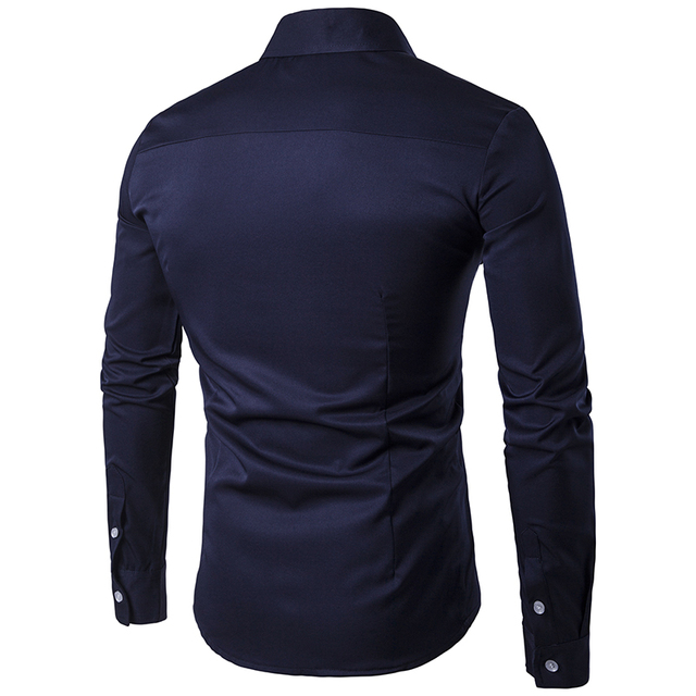2019 Men Casual Long Sleeved Shirts New Summer Fashion shirt Male Clothes Slim Fit embroidery pattern Cotton shirt EU size