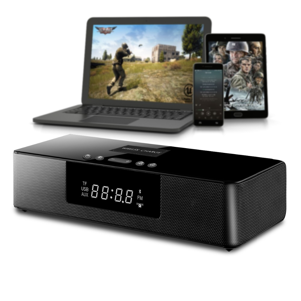 Wireless Bluetooth Column Soundbar Stereo Speaker Powerful TV Home Theater 4.0A Built-In Battery Sound Bar TF USB Clock Display