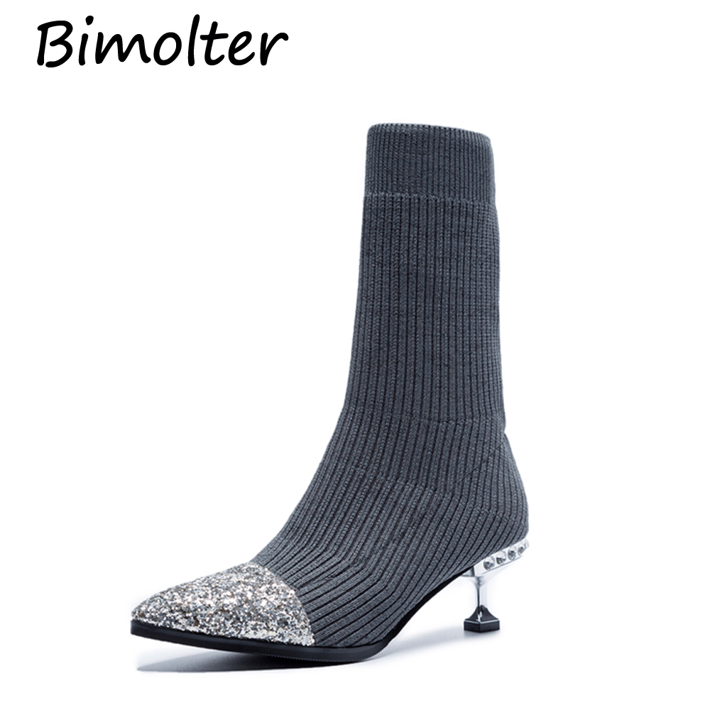 Bimolter Women Low Thin Heels Boots Rubber Crystal Soles Stretch Fabric Pointed Toe Short Boots Girls Street Party Shoe PASB002