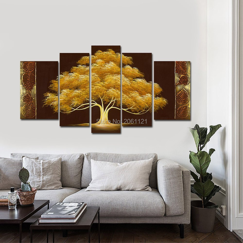 Wall Paintings For Living Room Aliexpresscom Buy Hand Painted Autumn Tree Oil Painting Yellow
