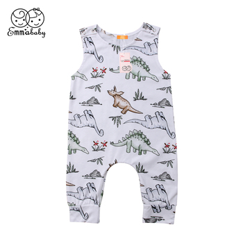 Emmababy Newborn Baby Boy Girl cotton sleeveless Rompers bebe boys summer Jumpsuit Dinosaur Romper Clothes Outfits 1