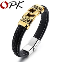 OPK Punk Wrap Men S Leather Bracelet Mayan Style Rope Chain Gold Plated Stainless Steel With