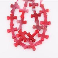 Pulido Rose Red Dragon Veins Achate Druzy Granos, Achate Natural en Bruto en Forma de Cruz Colgante de Collar, Hermosa Joyería de Las Mujeres artesanía