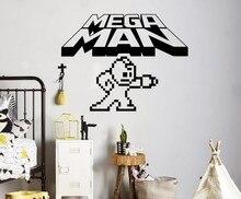 Free Shipping Mega Man Pixels Wall Decal Video Game Logo Wall Vinyl Sticker Retro Game Home Interior Kids Room Wall Decor цена