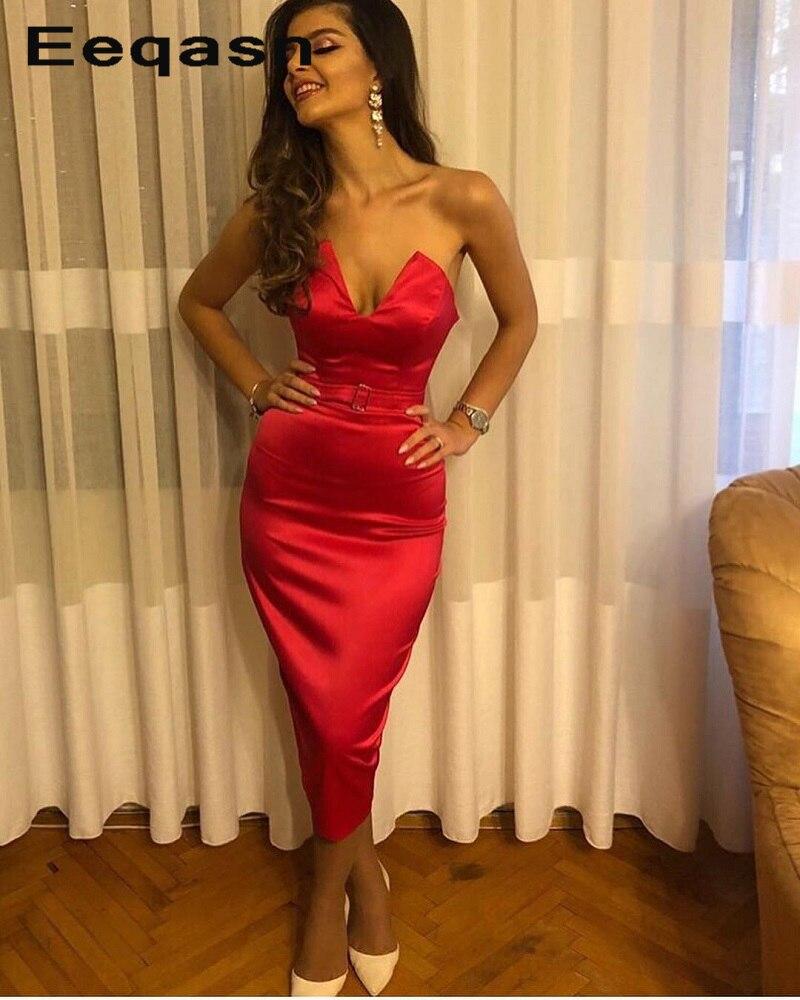New Sexy Tea Length Prom Dresses 2019 V Neck Mermaid Stretch Satin Vestidos De Festa Evening Party Gowns Gala Dress Cheap