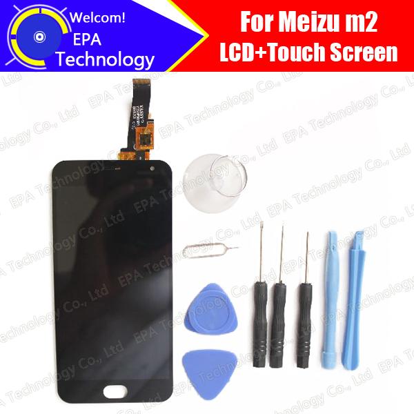 Meizu m2 mini display lcd + touch screen 100% novo e testado digitador substituição do painel de vidro para meizu m2 mini meilan 2 preto + ferramentas